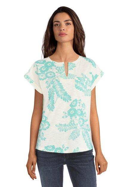 Ecru T-shirt met groene bloemenprint