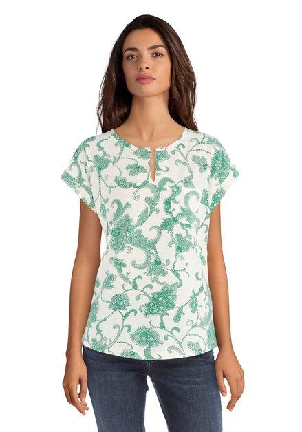 Ecru T-shirt met groene oosterse print