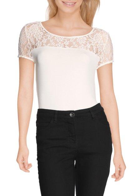 Ecru T-shirt met kanten schouders