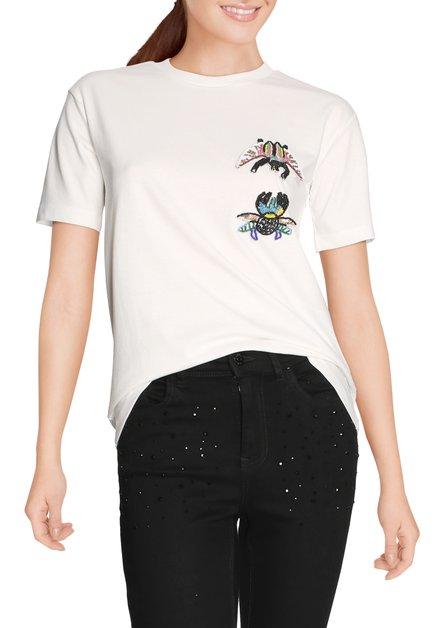 Ecru T-shirt met kleurrijke kraaltjes