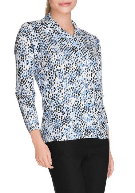 Ecru T-shirt met lichtblauwe stippen