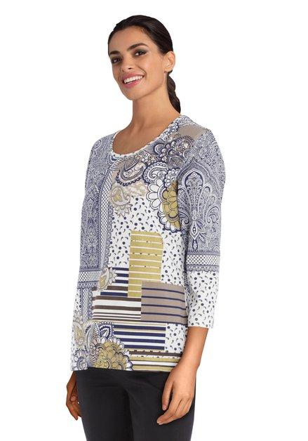 Ecru T-shirt met navy print en strass