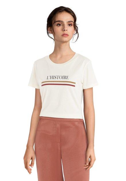 "Ecru T-shirt met opschrift ""L'HISTOIRE"""