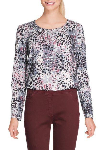 Ecru T-shirt met paarse print