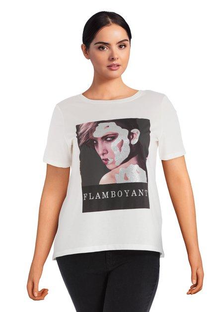 Ecru T-shirt met print met zilverkleurige print