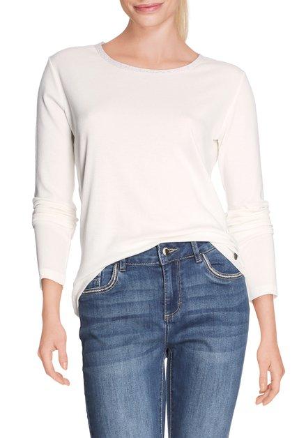 Ecru T-shirt met ronde hals in lurex
