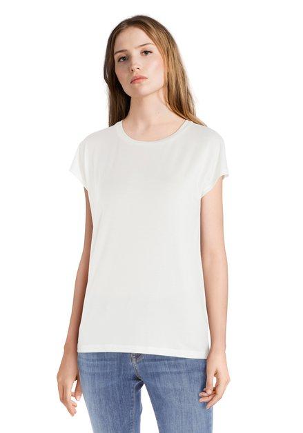 Ecru T-shirt met ronde hals in modal