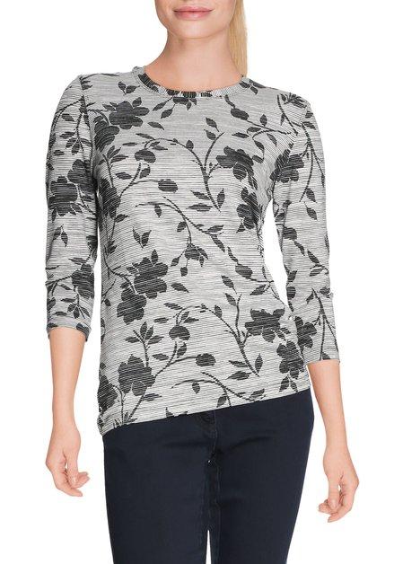 Ecru T-shirt met zwarte bloemen