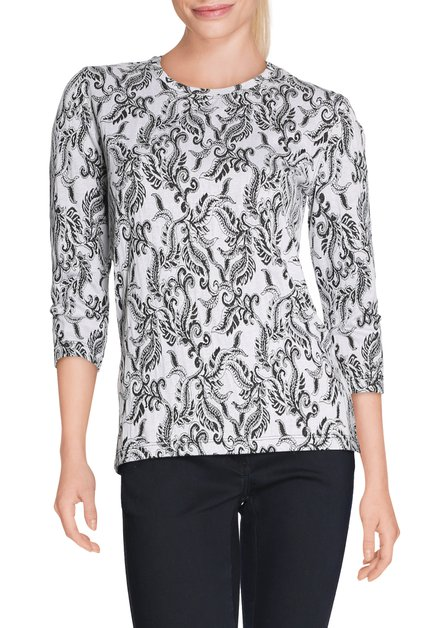 Ecru T-shirt met zwarte paisleyprint