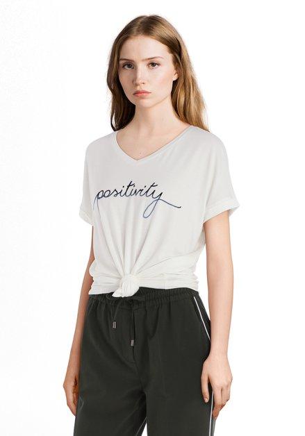 Ecru T-shirt 'Positivity'