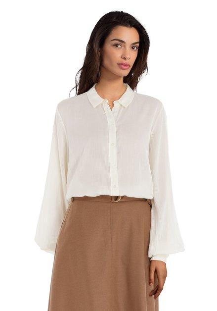 Ecru zijdeachtige blouse