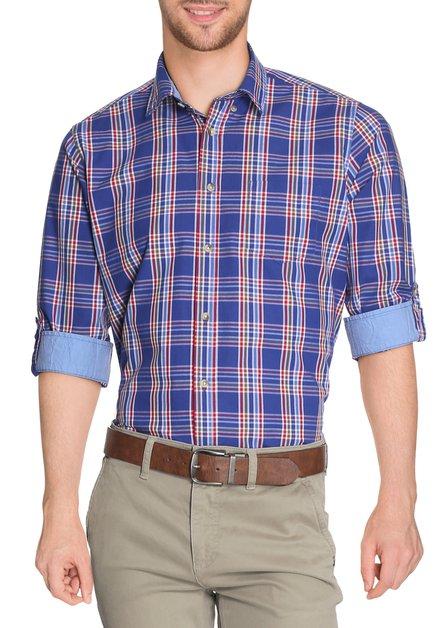 Felblauw geruit hemd - regular fit