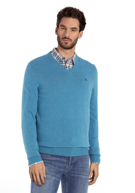 Felblauwe katoenen trui met geribde V-hals