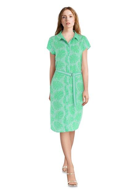 Felgroene jurk met bladerprint en riem