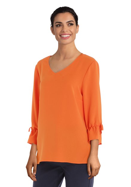 Feloranje blouse met V-hals
