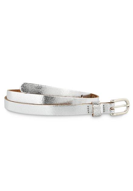 Fine ceinture argentée et métallisée