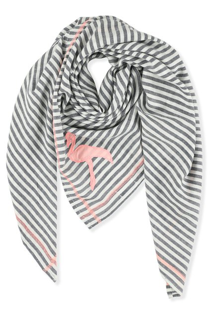 Foulard à rayures bleues/blanches et galons rose