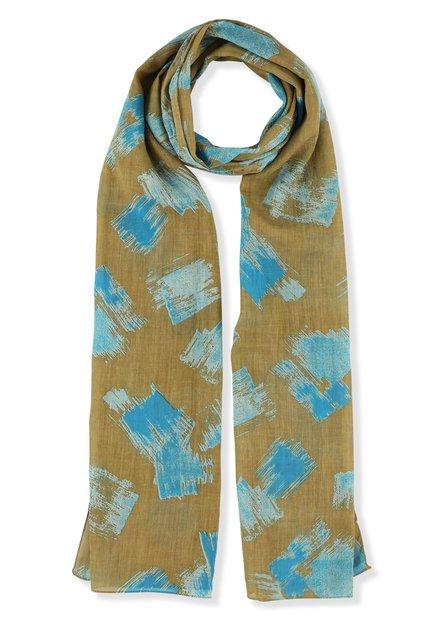 Foulard beige à taches bleues