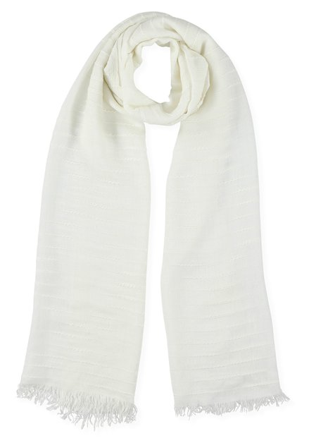 Foulard blanc tissé à structure rayée