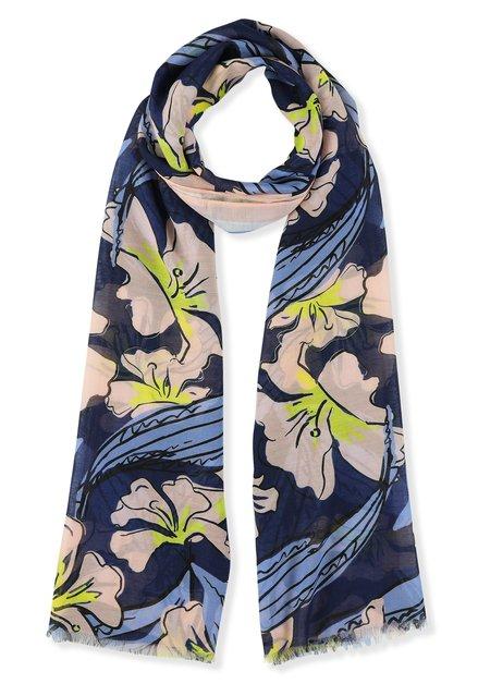 Foulard bleu à fleurs roses et jaunes
