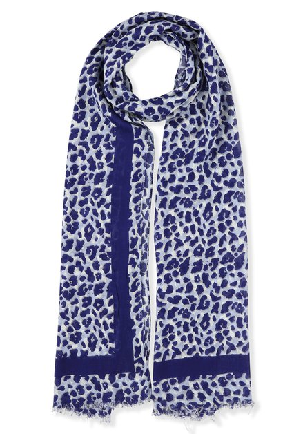 Foulard bleu à imprimé léopard