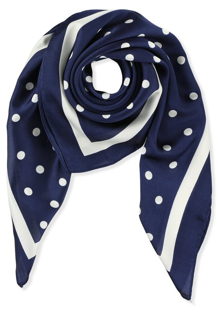 Foulard bleu à pois blancs