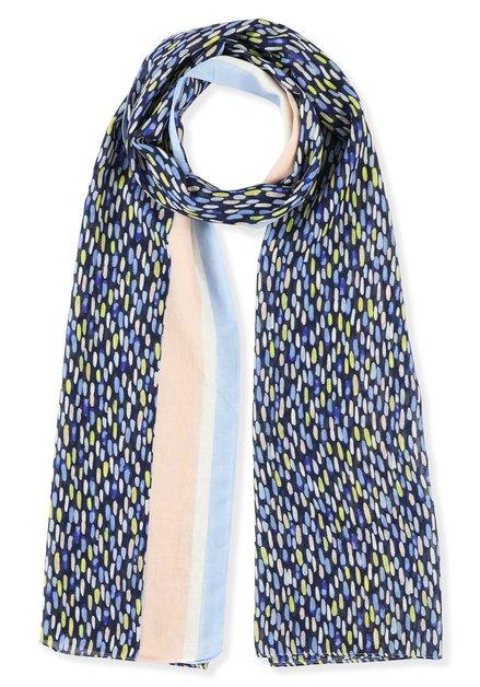 Foulard bleu à taches multicolores