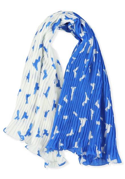 Foulard bleu/blanc avec un imprimé à oiseaux