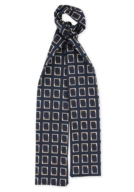 Foulard bleu marine à imprimé brun