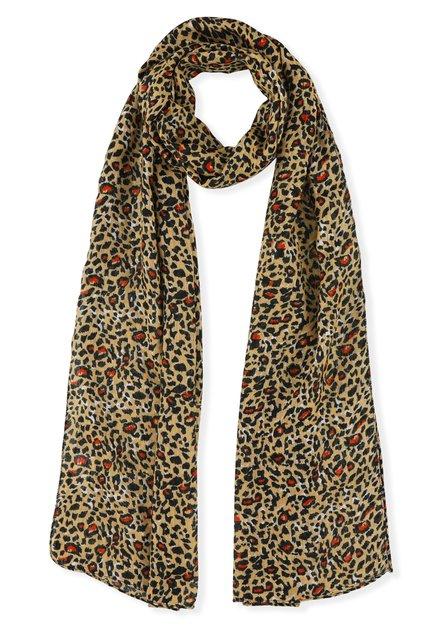 Foulard brun avec imprimé léopard