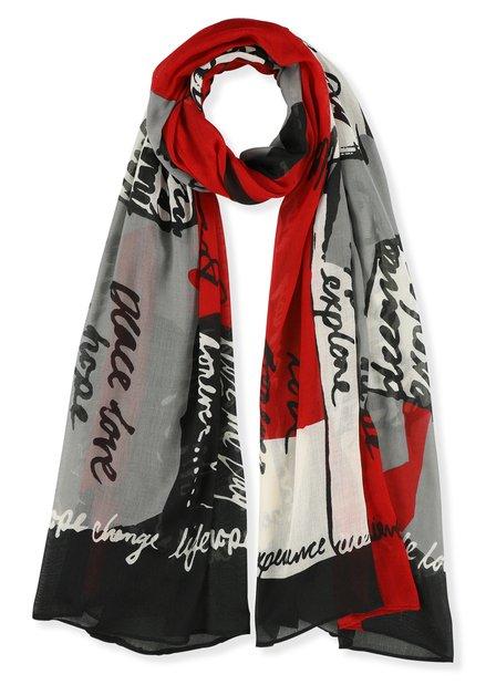 Foulard gris et rouge