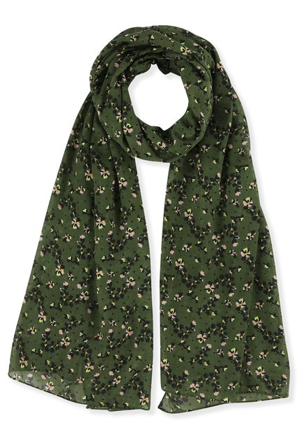Foulard kaki à motif à fleurs
