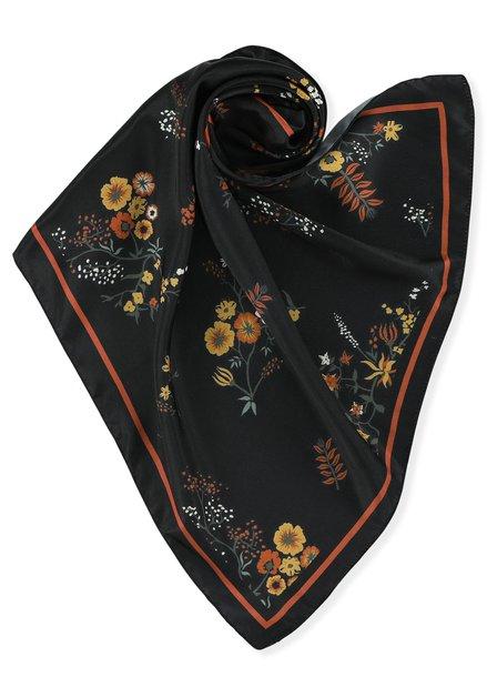 Foulard noir à fleurs