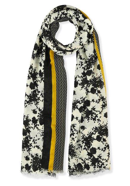 Foulard noir, écru et jaune