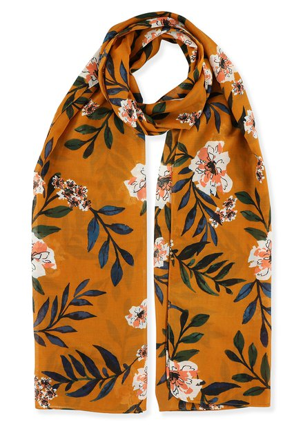 Foulard orange à fleurs