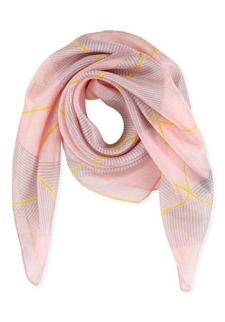 Foulard rose à motif jaune et gris