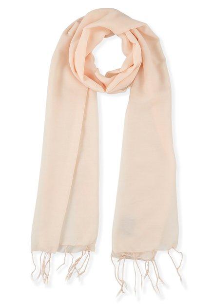 Foulard rose clair avec franges