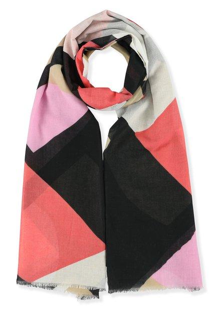 Foulard rouge avec imprimé abstrait