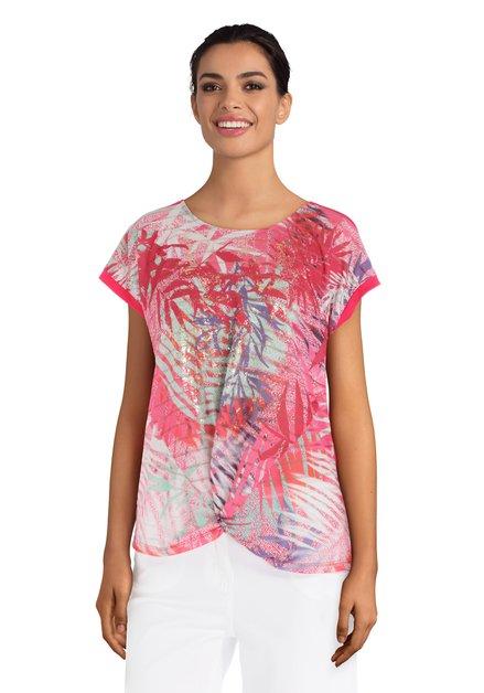 Fuchsia T-shirt met print en knoop
