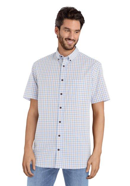 Geel en blauw hemd met korte mouwen – comfort fit