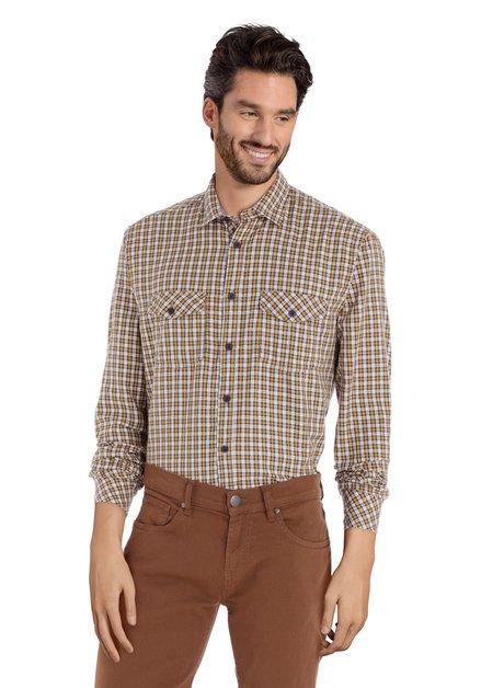 Geel geruit hemd - regular fit