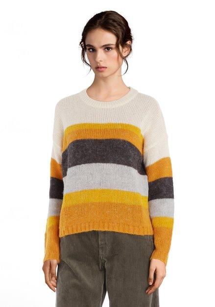 Geel gestreepte trui met ronde hals