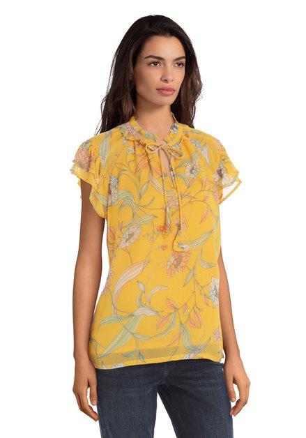 Gele blouse met roze bloemenprint