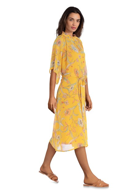 Gele jurk met roze bloemenprint