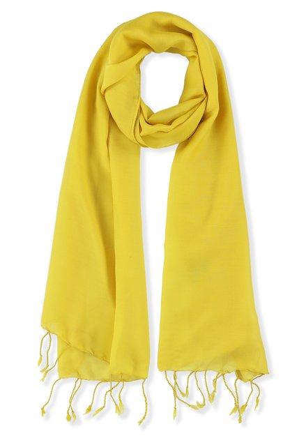 Gele sjaal met franjes