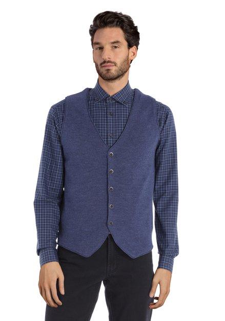Gilet en laine bleue avec col en V