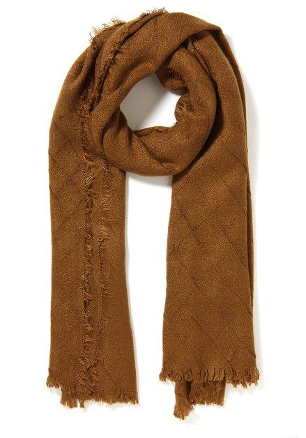 Goudbruine sjaal met geruit motief