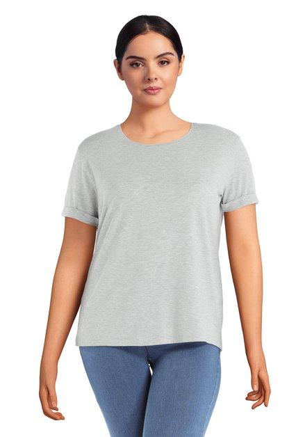 Grijs basic T-shirt met ronde hals