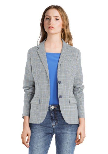 Grijs-blauw geruite blazer