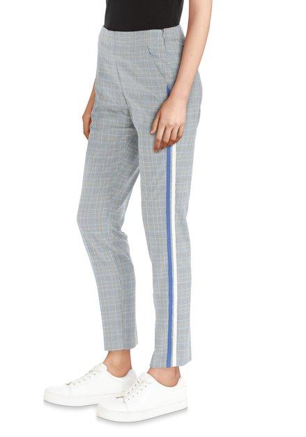 Grijs/blauwe broek met sportieve biezen